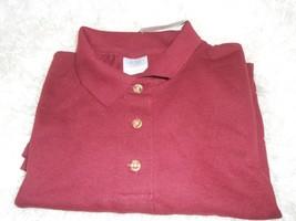 New Women's Gildan ultra cotton maroon polo shirt size Large cute golf polo - $7.43