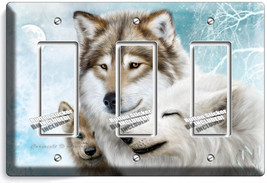 Wild Gray Wolf Family Winter 3GFCI Switch Outlet Wall Plate Cover Room Art Decor - $16.19