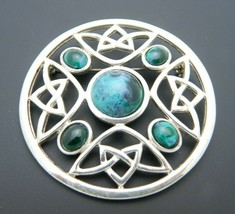 Celtic Knot Large Green Marbled Lucite Silver Tone Brooch Vintage - $34.64
