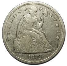 1872 $1 Seated Dollar Silver Coin Lot# EA 203