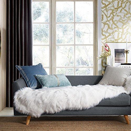 Ashler Soft Faux Sheepskin Fur Chair Couch Cover White