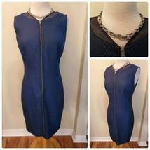 Tahari Women's Dress Dark Blue Textured Snakeskin Full Zipper Cocktail D... - $113.07