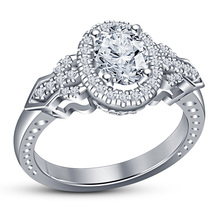 0.75 CTW Diamond 14K White Gold Over 925 Sterling Silver Womens Engagement Ring - £50.02 GBP