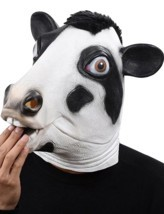 Cosplay Halloween Costume Party Latex Dog Head Mask, Cow - $41.27 CAD