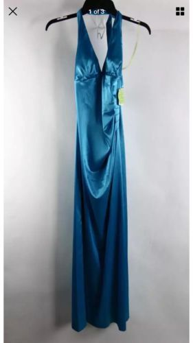 B. Darlin Teal Blue Halterneck Special Occasion Event Gown Size 9/10