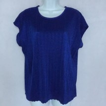 Notations Blue Stretchy Textured Sleeveless Blouse Top Women Sz L - $21.24