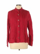Chico's Women's Red Linen Collarless Button Front Top Shirt Jacket Size ... - $31.49