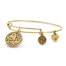 PalmBeach Jewelry Peace Charm Bangle Bracelet in Antique Gold Tone - $12.49