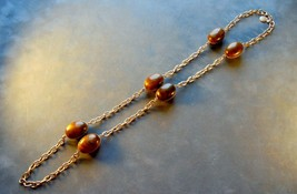 "Signed Vintage Bill Blass Gold Tone  36"" Chain Necklace with Brown Swirl Eggs - $7.92"