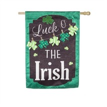 St Patricks Day Chalkboard House Banner / Garden Flag NEW Evergreen Holiday - $15.79+