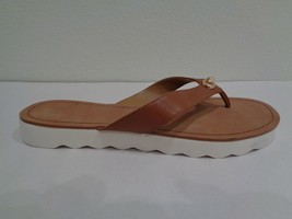 Coach Size 9.5 M SHELLY Saddle Brown Leather Flip Flop Sandals New Women... - $117.81