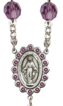 Rosary - Sterling Silver with 8mm Amethyst Swarovski Aurora Borealis Beads image 3