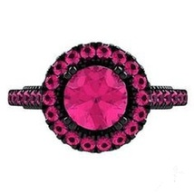 Black Rhodium Plated 925 Sterling Silver 1.75 Ct Pink Sapphire Engagement Ring - $87.77