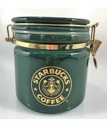 """Starbucks Coffee Green Gold Siren Mermaid Split Tail Logo Canister 5 1/2"""" - $63.70"""