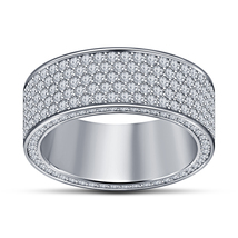 Mens Diamond Anniversary Pinky Ring Band 14k White Gold Over 925 Sterlin... - $90.99