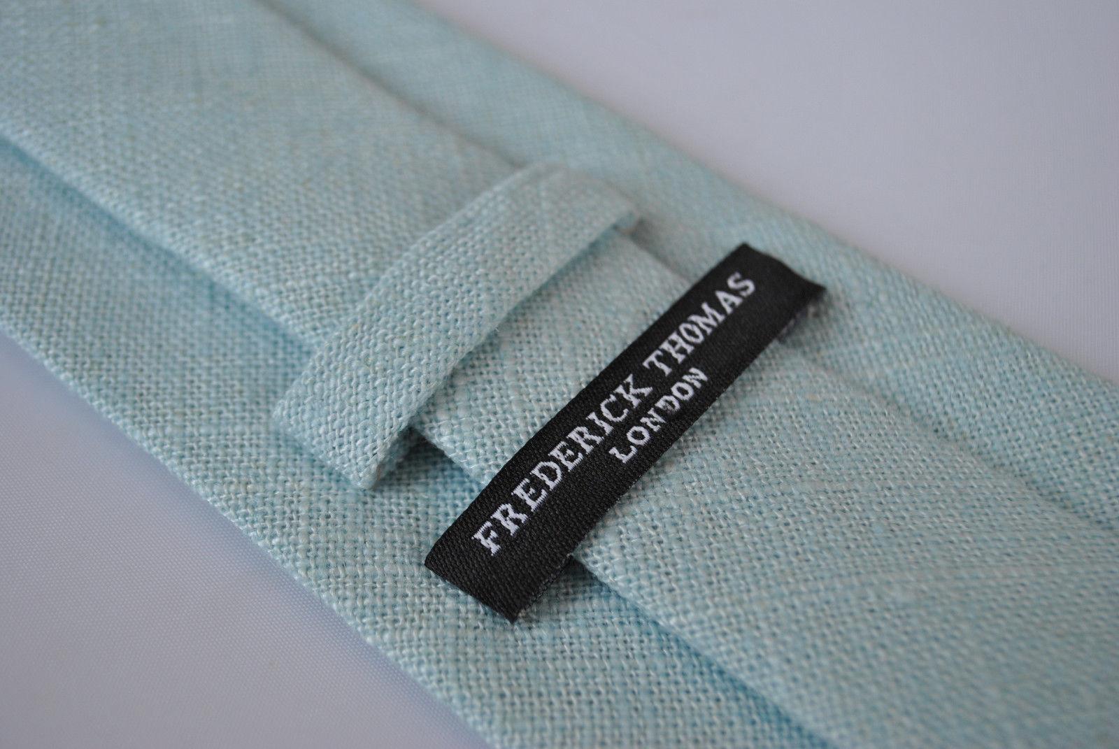 Frederick Thomas duck egg blue textured linen tie FT1964