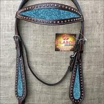 Hilason Western Horse Headstall Bridle American Leather Brown Turquoise U-R-HS - $63.31
