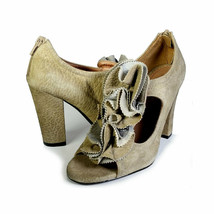 $220 Anthropologie Miss Albright 37.5 Sandals Taupe T-Strap Floral *Primo* Sz 7 - $44.00