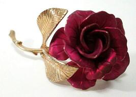 Vintage Signed CERRITO Satin Enamel Long Stem Red ROSE Flower BROOCH Pin - $9.00