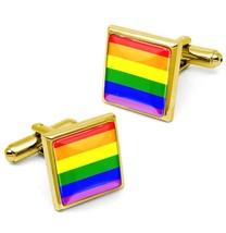 Gold Gay & Lesbian Pride Rainbow Equal Rights Flag Glass Cufflink Set w/... - $32.39