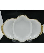 Vintage FIRE KING Milk Glass Divided Dish Gold Trim 3 Part Vachina Relis... - $13.99