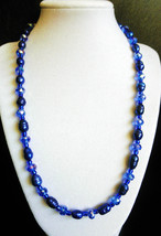 """21"""" genuine pearl, crystal and blue artglass bead necklace - $95.00"""