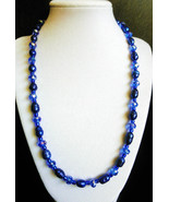 "21"" genuine pearl, crystal and blue artglass bead necklace - $95.00"