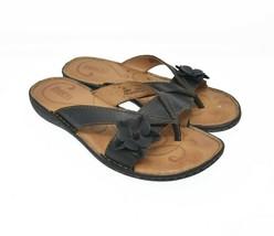 BORN Womens Sz 8M Black Floral Flower Petal Slip On Comfort Walking Sandals - $39.99