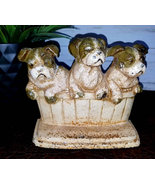 Vintage Cast Iron Bull Dog Doorstop in a Basket Hubley Mold - $129.00