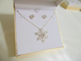 Charter Club Silver-Tone Crystal Snowflake Pendant Necklace Set CL714 $27 - $9.72
