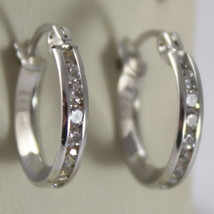"""SOLID 18K WHITE GOLD CIRCLE EARRINGS WITH ZIRCONIA, DIAM 0.51"""" MADE IN ITALY image 1"""