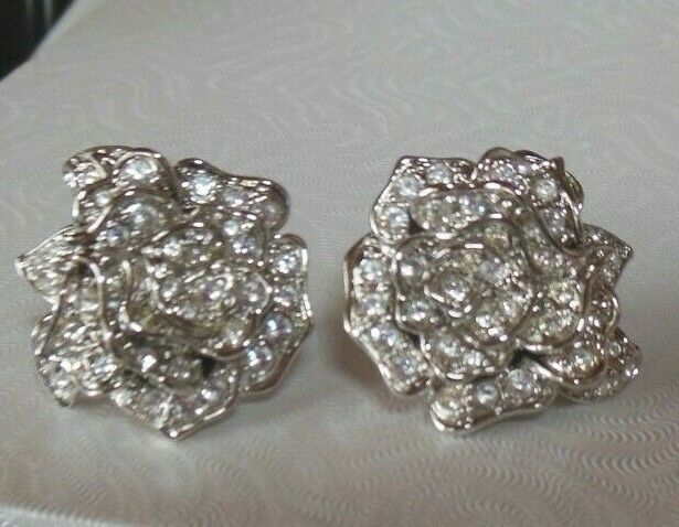 Primary image for Vintage Signed NOLAN MILLER Clear Pave Rhinestone Rose Flower Clip-on Earrings