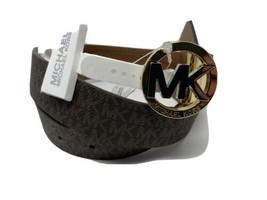 Michael Kors Reversible Brown MK Print Women's Belt 551342C Sz M - $32.99