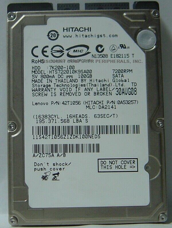 "NEW HTS722010K9SA00 100GB Hitachi 7200RPM SATA 2.5"" 9.5MM hard drive"