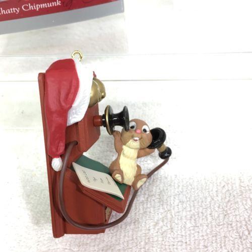 1998 Chatty Chipmunk Hallmark Christmas Tree Ornament MIB Price Tag H6 image 3