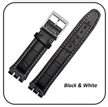 19mm (22mm) Swatch Replacement BLACK Croco Aligator Watch Strap with Sti... - $27.99