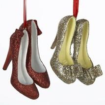 Kurt S. Adler Glittered Shoes Christmas Ornaments Set Of 2 Multicolor - $15.46