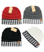 CC Beanie Hat Cap with Houndstooth Cuff - NWT - $15.99