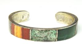 Sterling RBD Taxco Eagle 17 Bangle Inlay Bracelet Jasper Malachite Turqu... - $103.92