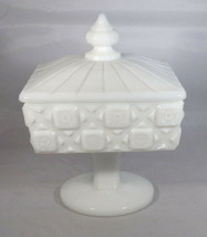 Westmoreland Marked Candy Dish & Lid - Old Quilt Pattern White Milk Glas... - $8.90