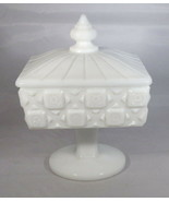 Westmoreland Marked Candy Dish & Lid - Old Quilt Pattern White Milk Glass Square - $8.90