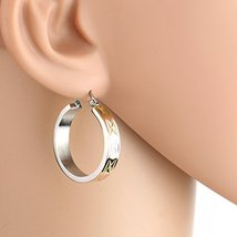 Bold Polished Tri-Color Silver, Gold & Rose Tone Hoop Earrings- United E... - $14.99