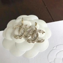 SALE* AUTHENTIC Chanel Gold CC Ribbon Crystal Large Piercing Earrings image 6