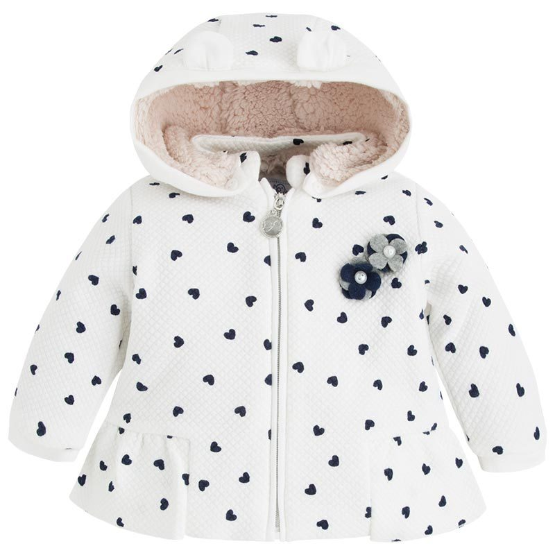Mayoral Baby Girls Heart Print Textured Hooded Jacket