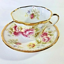 Queens Rosina Teacup And Saucer Pink Yellow Rose Bone China England VTG ... - $24.70