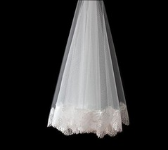 Elegant 2 Meter Long Single-layer Lace Edge Bridal Wedding Veil With Comb, Beige
