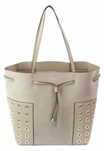 Tory Burch Block Grommet French Grey Tote Bucket Bag Medium Handbag - $359.91