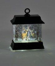 """4.5"""" Black led Water Lantern Woodland Scene with Glitter and Light Up Features image 2"""