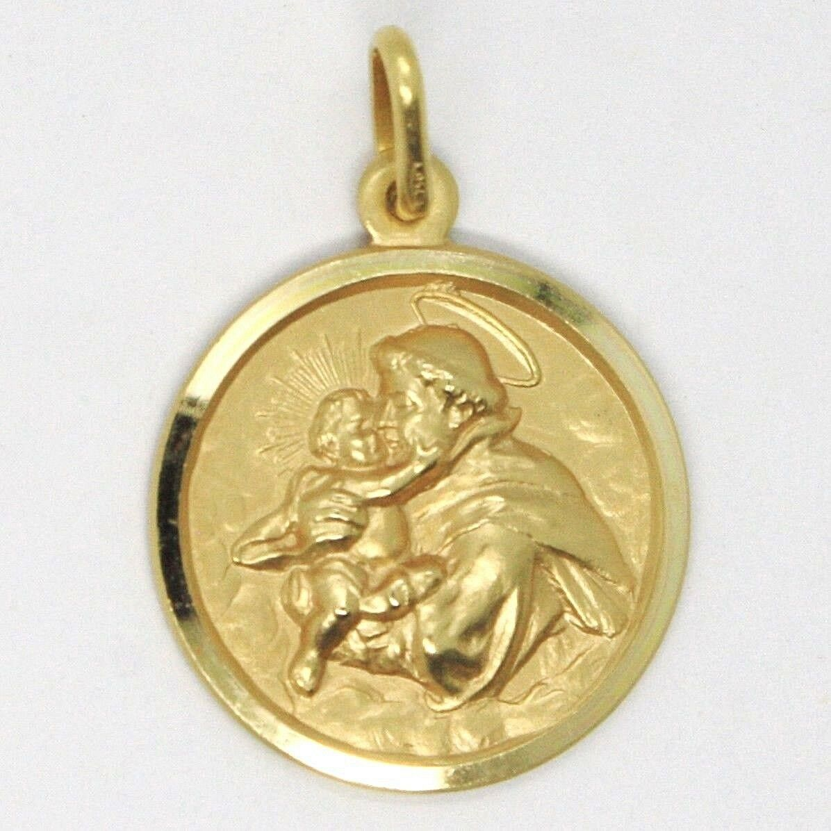 18K YELLOW GOLD ST SAINT ANTHONY PADUA SANT ANTONIO MEDAL MADE IN ITALY, 19 MM