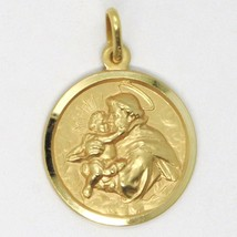 18K YELLOW GOLD ST SAINT ANTHONY PADUA SANT ANTONIO MEDAL MADE IN ITALY, 19 MM image 1
